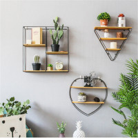 Modern Wall Iron Hanging Holder Small Metal Storage Rack Books Vase Home Living Room Decoration Wood Sundries Storage Wall Shelf