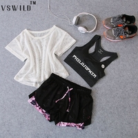 Women 3 Pcs Yoga Suits Fitness Running Gym Sets Bra Yoga Breathable Tshirt Sport Shorts Bras