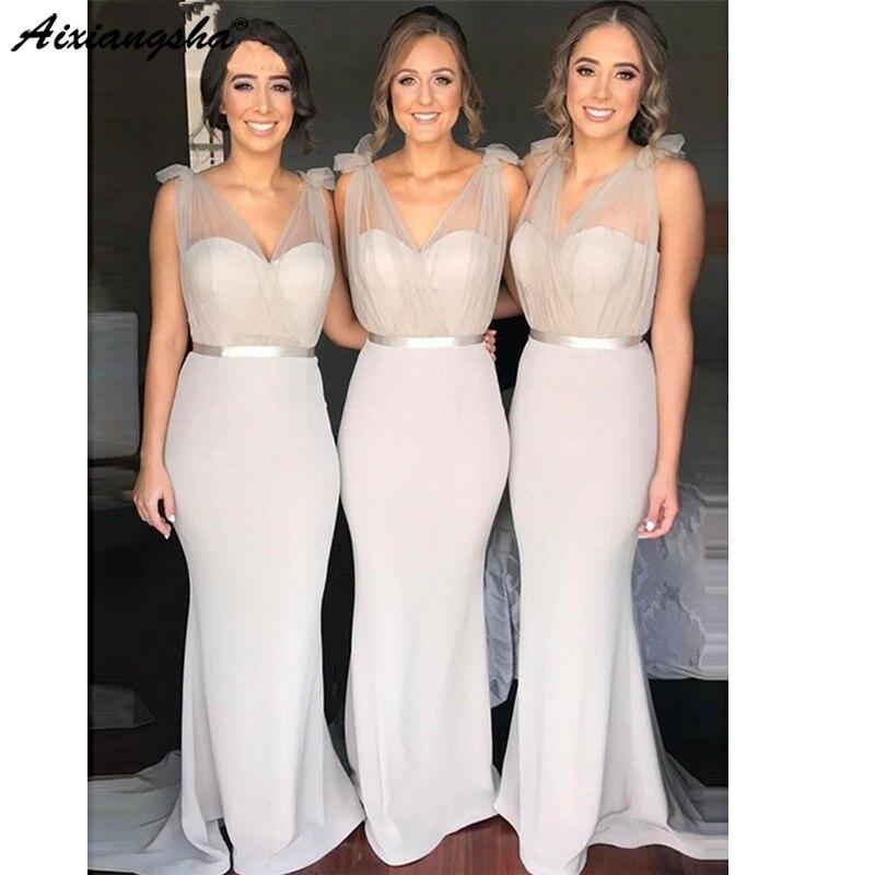 Light Grey V-Neck Mermaid   Bridesmaid     Dress   2019 Elegant Sweep Train Maid of Honor   Dresses   for Wedding vestidos de fiesta de noch