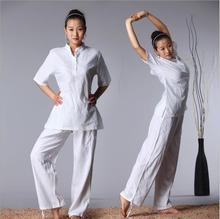 купить High quality Spring Summer Short Sleeve martial Jacket + Pants Loose Tai chi  Kungfu Comfortable Clothes Cotton linen Yoga Suits дешево