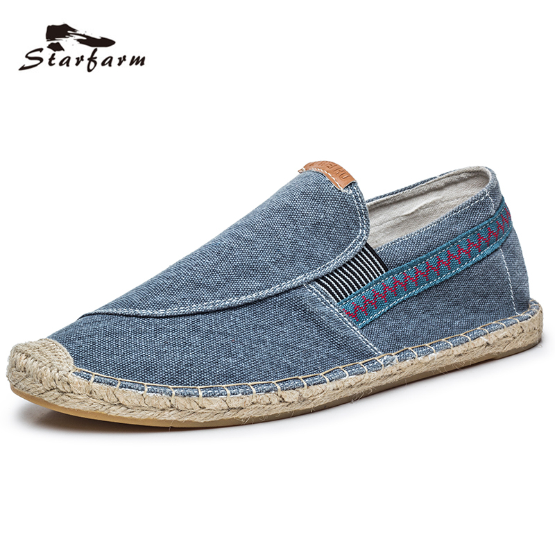 STARFARM Handmade Sewing Espadrille Men Shoes Man Flats Hemp Canvas Shoes Rope Sole Casual Loafers back to school Fisherman women and men s casual flat shoes loafers fisherman espadrilles boat shoes men lazy hemp rope weave shoes size 35 45