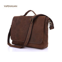YUPINXUAN Large Capacity Cowhide Laptop Bag Crazy Horse Leather Briefcases Men's Gift Handbags Vintage Cow Leather Shoulder Bags