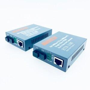 Image 2 - Convertidor de medios de fibra óptica HTB 3100, transceptor de fibra, convertidor de fibra individual de 25km SC 10/100M, 1 par