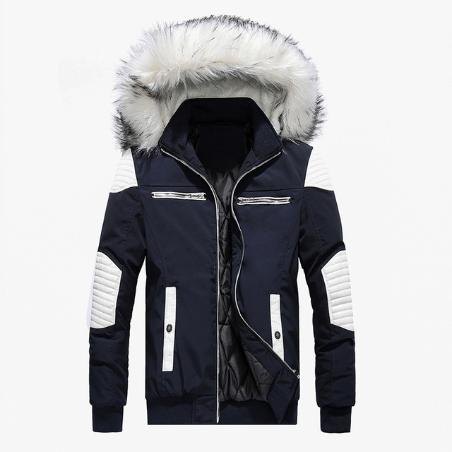 d59f7256 Abrigo Parkas de moda alta calidad para hombre chaqueta gruesa Wadded  Cuello piel informal abrigo retazos invierno