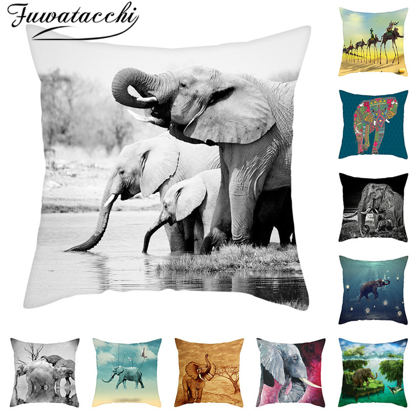 Fuwatacchi Elephant Picture Cushion Cover 21 Style Pillow Case 45x45cm Home Decorating Pillows Cover Home Decoration Accessories