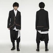 M-5XL! Большой размер, костюмы для сценического шоу,, пэчворк, сломанный мужской костюм, на молнии, через неровные, модная мужская одежда