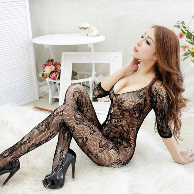 7 colors black blue sexy lingerie hot Sexy bodysuit women Open Crotch Stockings fishnet Sheer bodystocking erotic Lingerie 021