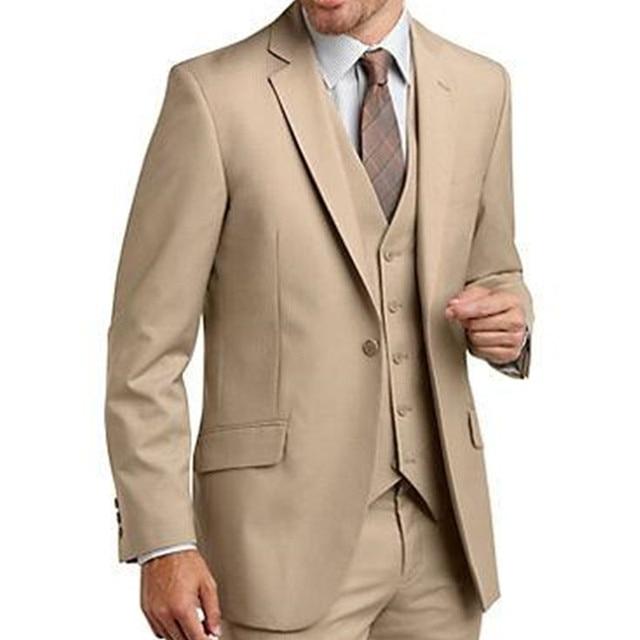 Classic 2017 New One Button Men Suit Khaki Groom Tuxedos