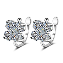 Everoyal Vintage Sterling Silver 925 Earring For Women Accessories Latest Crystal Clover Girl Clip Earrings Jewelry Female Bijou