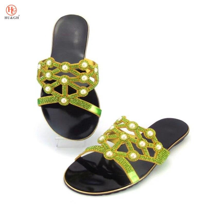 Low Hausschuhe silber 37 Größe grün Damen Schuh Sommer Party 43 2018 Frau gold Strass Heels Schwarzes Neue Italienischen rot Afrikanische Mode Für Schuhe qgwwxS8