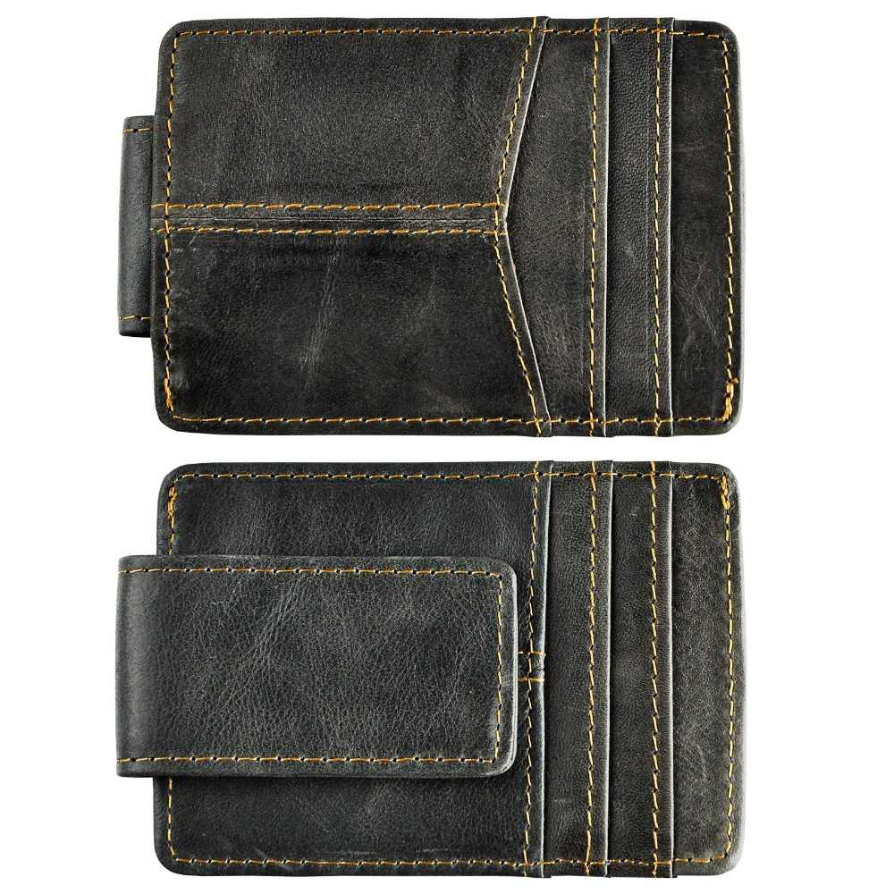 Male Quality Leather Designer Fashion Travel Slim Wallet Front Pocket Magnetic Money Clip Mini Card Case Purse For Men 1017G