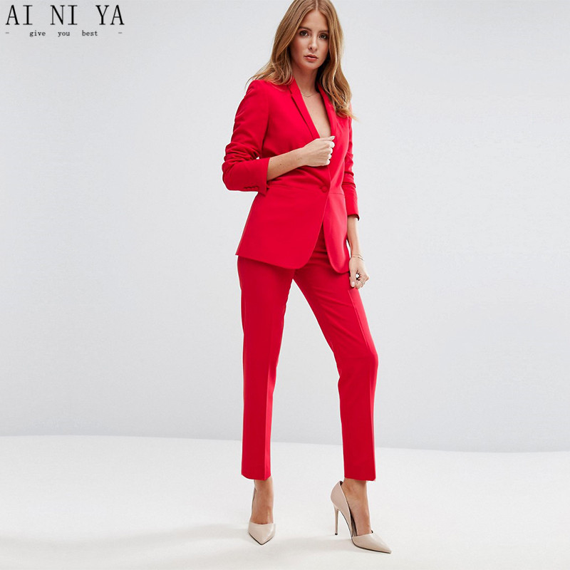 New Red Pofessional Women Business Suits Work Wear With 2 Pieces Jackets+Pants Blazers Office Uniform Styles Female Trouser Suit