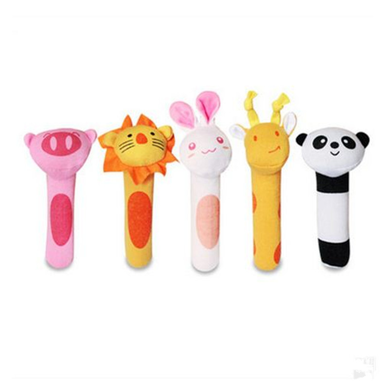 5pcs / Set Rattles Cartoon Animal Plysj Toy BB Stick Rattle Baby - Baby og småbarn leker