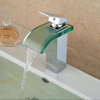 Chrome Polished Deck Mounted Basin Water Mixer Taps Glass Spout Hot and Cold Water Faucet