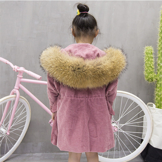 High quality! Girls Natrual Rabbit Fur Parkas Winter Coats for girl Toddle Hoodies Raccoons fur Collar Children Detachab Clothes jkp 2018 winter new children s raccoon fur collar real fur coats girls and boys wear genuine rabbit parkas outerwear coats ct 04