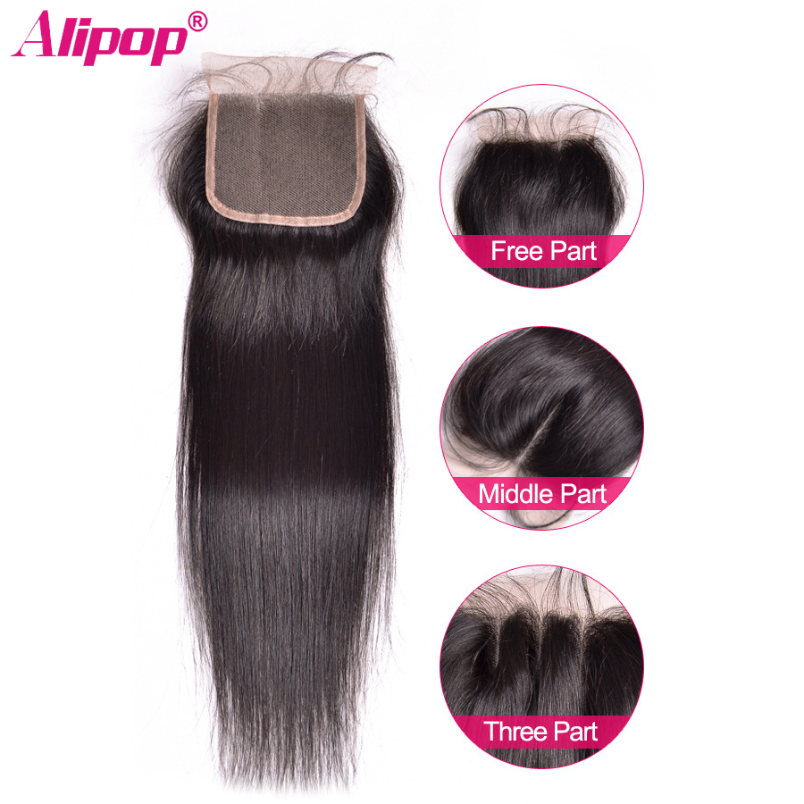 "ALIPOP Brasilian Straight Lace Closure Med Baby Hair Remy Hair Natural Color 8 ""-24"" Swiss Lace Human Hair Closure 4 * 4 Størrelse"