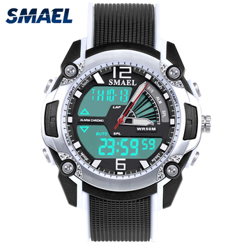Fashion Smael Kids Digital Watch Waterproof 50m Led Sport Quartz Dual Time Wirstwatch Wach 1343 Shock Watches Children Clock Boy image
