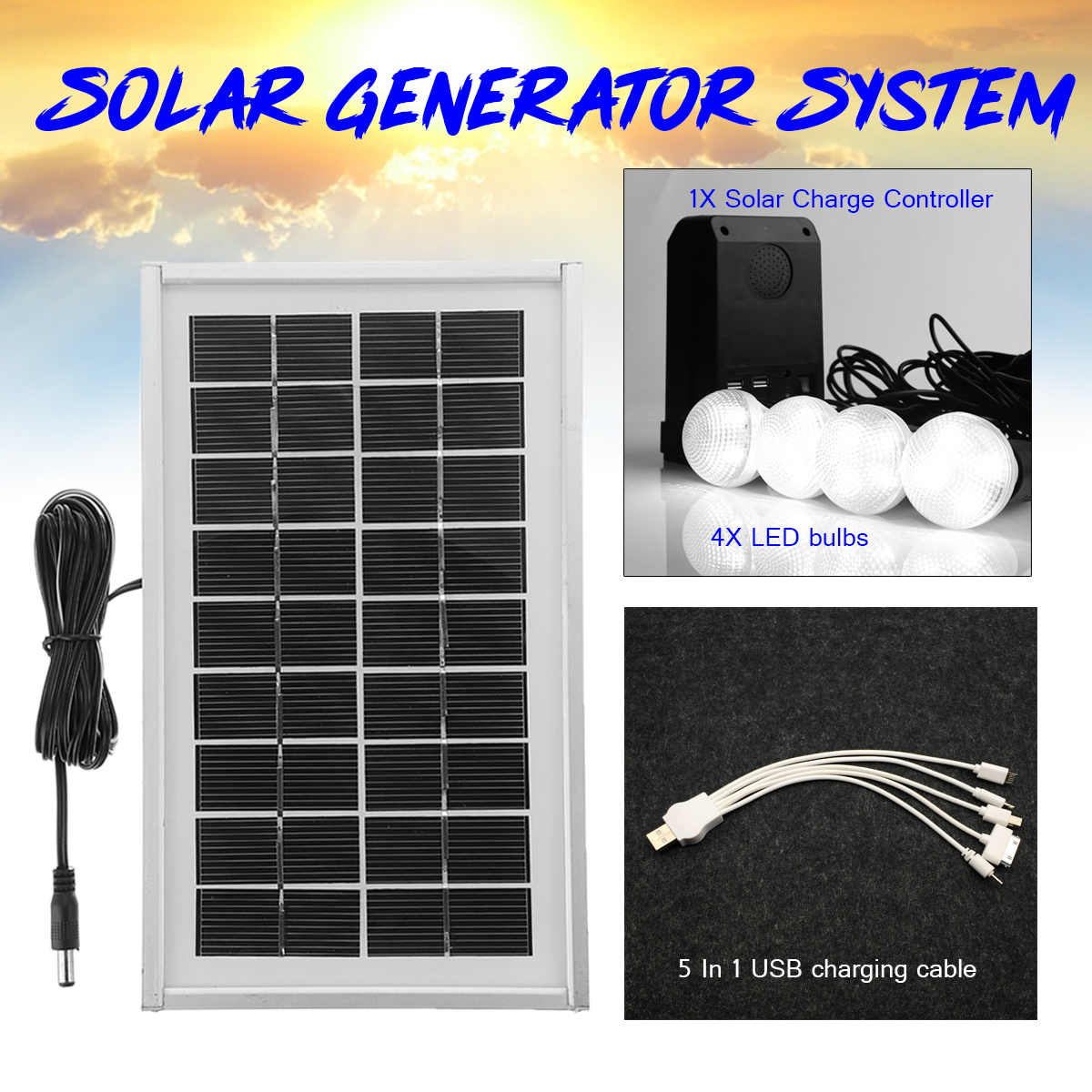 Solar Panel Solar Powered 7.4V 2200mAH 3W With 4 LED Bulbs System Lithium Battery Controller Indoor Outdoor Home Protection