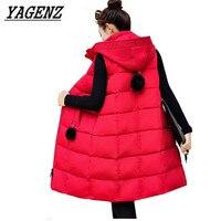 Sleeveless Down cotton Vest Women Warm Jacket 2018 Autumn Winter Slim Medium long Overcoat Plus size Female Hooded Vest Coat 5XL