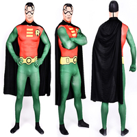 2015 Superior Quality Lycra Spandex Robin Costume Adult Halloween Party Bodysuit Unisex Batman SuperHero Cosplay Plus