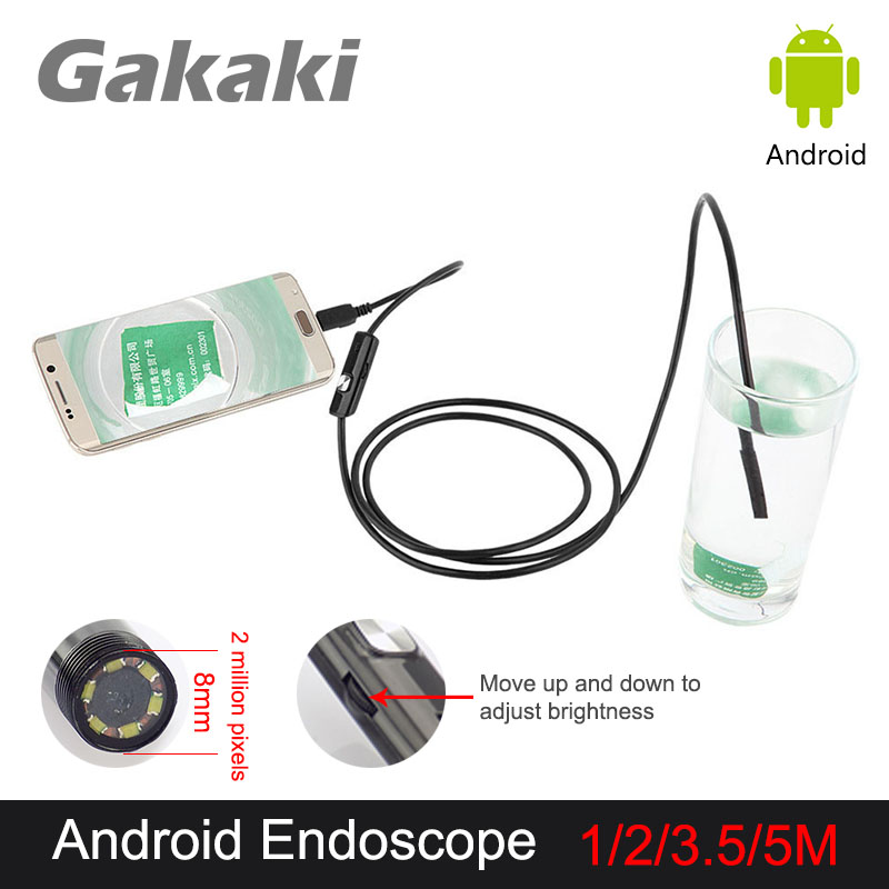 Gakaki Waterproof Endoscope Borescope USB Mini Camera Inspection Snake Tube Pipe 8mm Diameter Lens For PC Android Phone supereyes 3 5 monitor waterproof borescope videoscope 9mm diameter 800mm snake tube endoscope camera with led inspection n012j