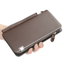 Huge Capacity Purse Long Card Holder identity passbook Clutch Wallets billetera Fashion Man Wallet Leather Concise Money Bag