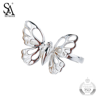 Sa Silverage Ring Silver 925 Rings Butterfly For Girl Women Sterling Silver Jewelry Fine S925 2017
