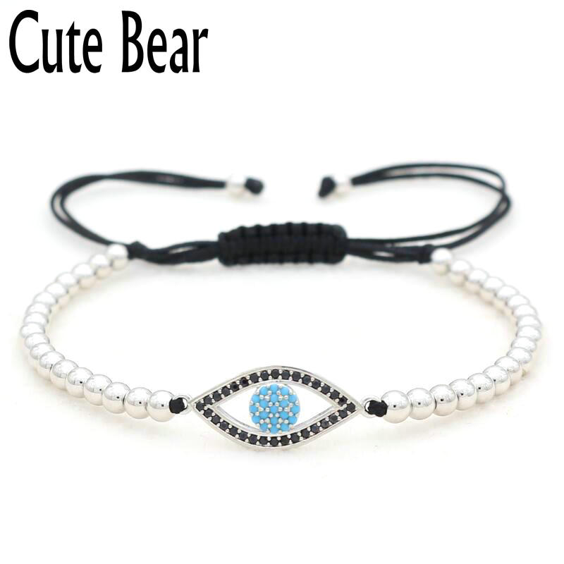 Cute Bear Brand Pure Hand Woven Rope Bracelet Fashion 4mm Copper Beads Micro Pave CZ Blue Eye Bracelet Women Charm Jewelry