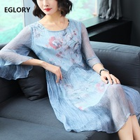 100 Real Silk Women Fashion Print Dress Party Elegant Ladies Hollow Out Lace Embroidery Peplum Dress