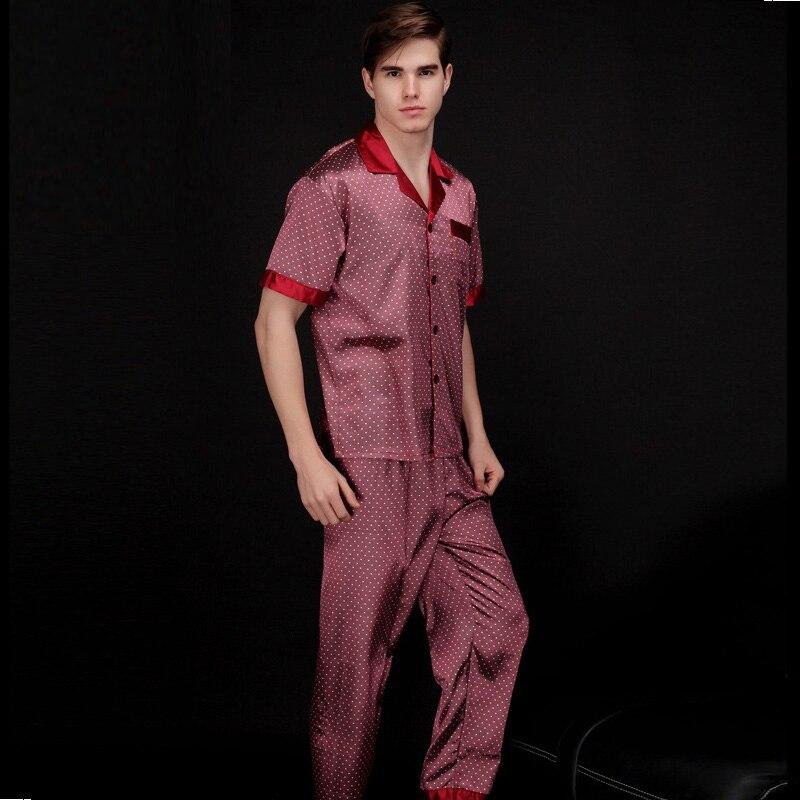 2017 Mann Mode V-ausschnitt Kurzarm Weiche Glatte Gefälschte Seide Pyjamas Für Männer Mit L Xl Xxl Größe Mit Druck Sy018