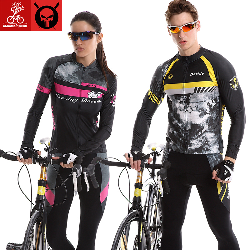 Prix pour Mountainpeak Printemps Automne À Manches Longues Élastique Tissu À Séchage Rapide Ciclismo Mans Femme Cyclisme Jersey Définit GEL Pad Vélo Vêtements