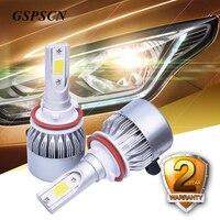 GSPSCN 2pcs Car Led 72W 6500K Headlamp Bulbs H4 H7 9005 HB3 9006 HB4 9012 HIR2