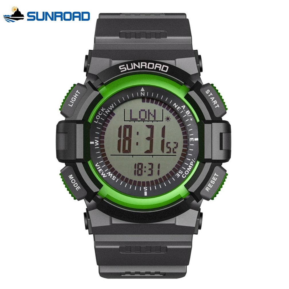 SUNROAD 3 ATM Waterproof Digital Compass Barometer Altimeter Rubber WristWatch Backlight Outdoor Sports Watches Saat Relogio
