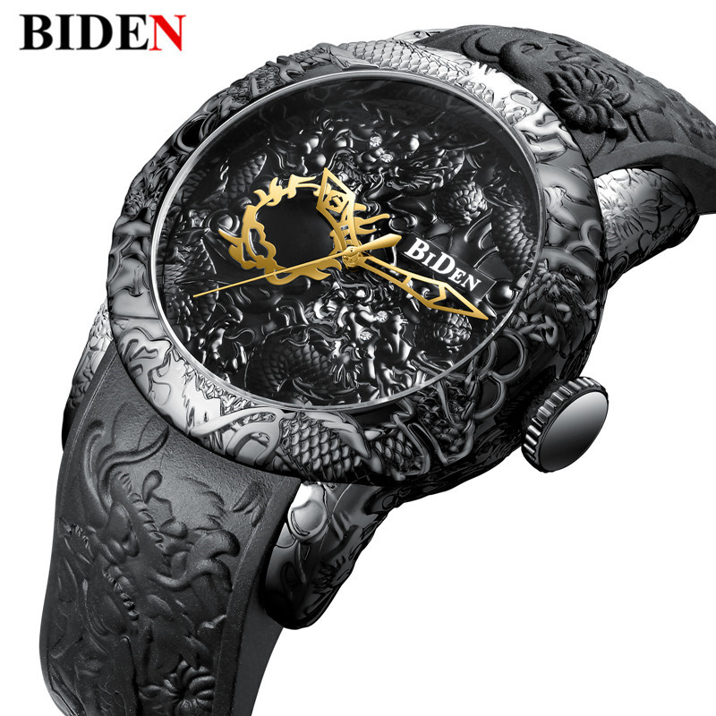 New Fashion 3D Sculpture Dragon Men's Quartz Watches Brand BIDEN Gold Watch Men Exquisite Relief Creative Clock Relogio цены