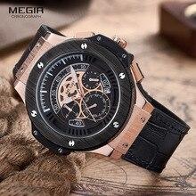 MEGIR Relojes Para Hombre Top Marca de Lujo de Los Hombres Militares Deportes Cronógrafo Luminoso Reloj de Pulsera de Cuero Reloj de Cuarzo relogio masculino