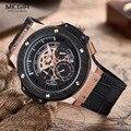 MEGIR Relógios Dos Homens Top Marca de Luxo Militar Homens Esportes Cronógrafo Luminosa Relógio de Pulso de Couro Relógio de Quartzo relogio masculino