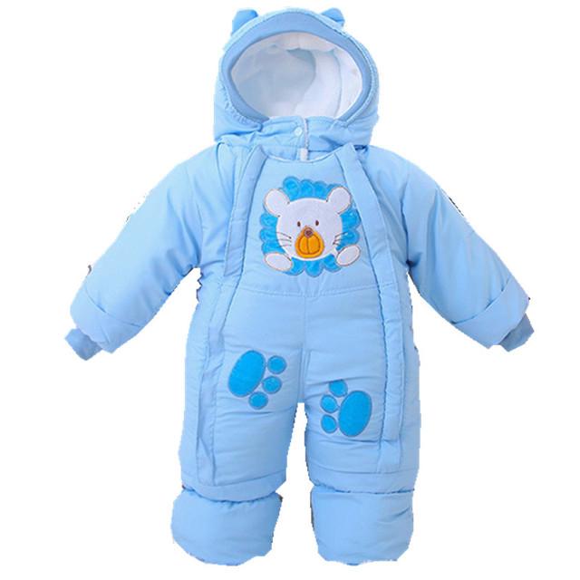 2016 Outono bebê recém-nascido macacão grossas de Inverno crianças amassado jaqueta crianças quente acolchoado-algodão velo animal macacões macacão