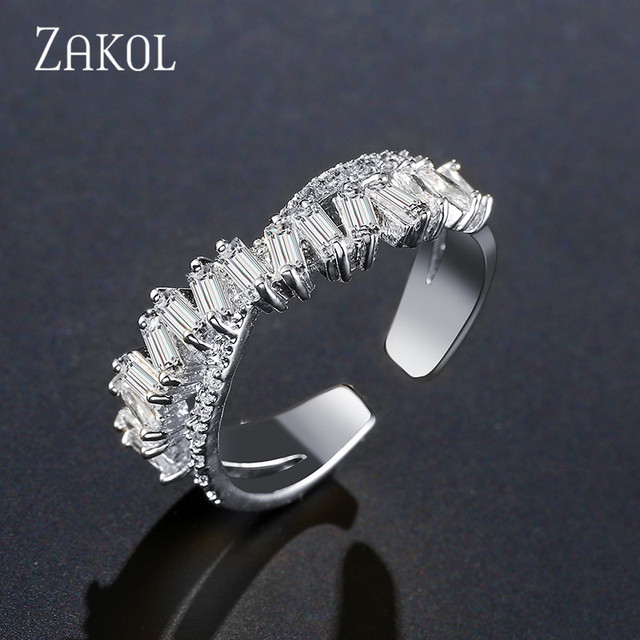 ZAKOL Fashion Multi-layered Baguette CZ Zirconia X Shape Open Rings Cross Adjust