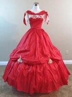 Красный тафта платье гражданская война костюм Ренессанс платье атласное платье