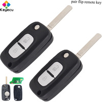 KEYECU Pair Flip Folding Remote Key With 2 Buttons/ 434MHz/ PCF7961 Chip/ VA2 Uncut Blade   FOB for Renault Clio 3 Kangoo Master|Car Key|   -