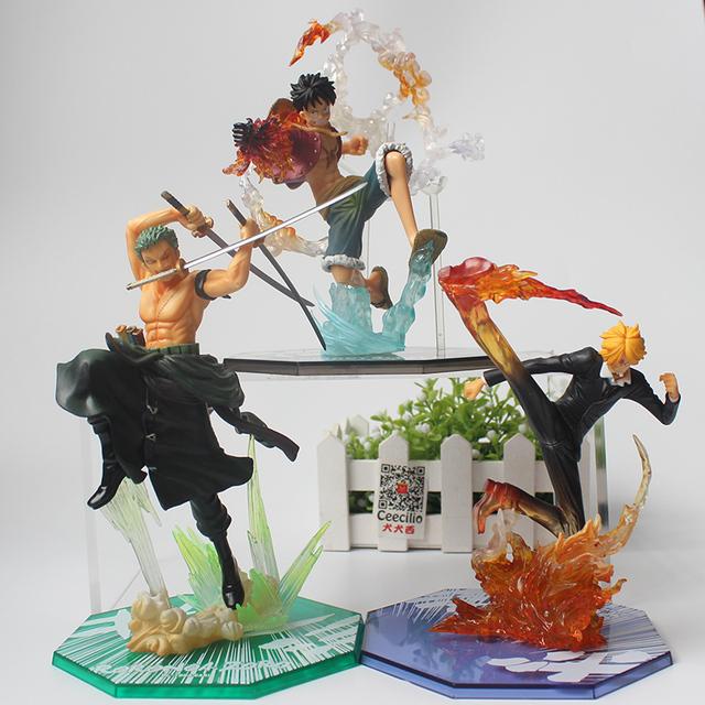 Anime ONE PIECE Collect Figurine Monkey D Luffy Zoro Sanji Battle Ver. pvc Model Figure Toys