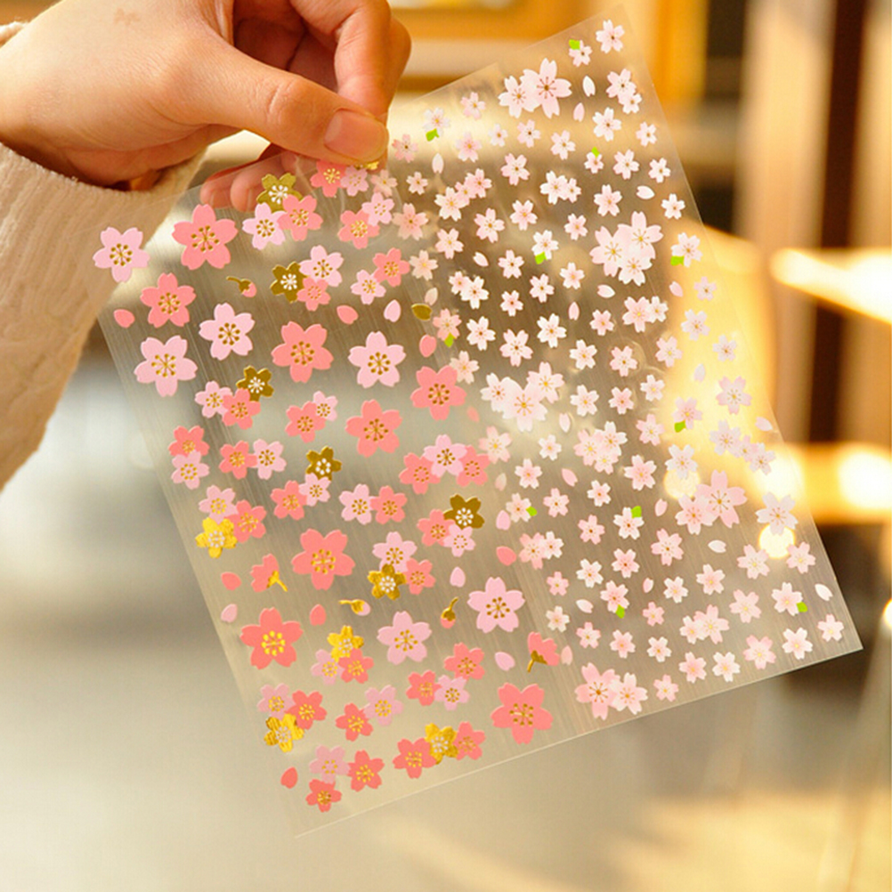 1 Sheet High Quality Waterproof Stickers Romantic Cherry Blossoms DIY Stickers Decorative Scrapbooking Diary Album Stick Label