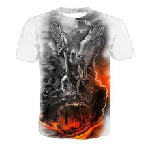 Cloudstyle 2019 Skull 3D Tshirts Men Women Angel Demon War Print Short Sleeve Tees Shirts Streetwear Summer Top Plus Size 5XL