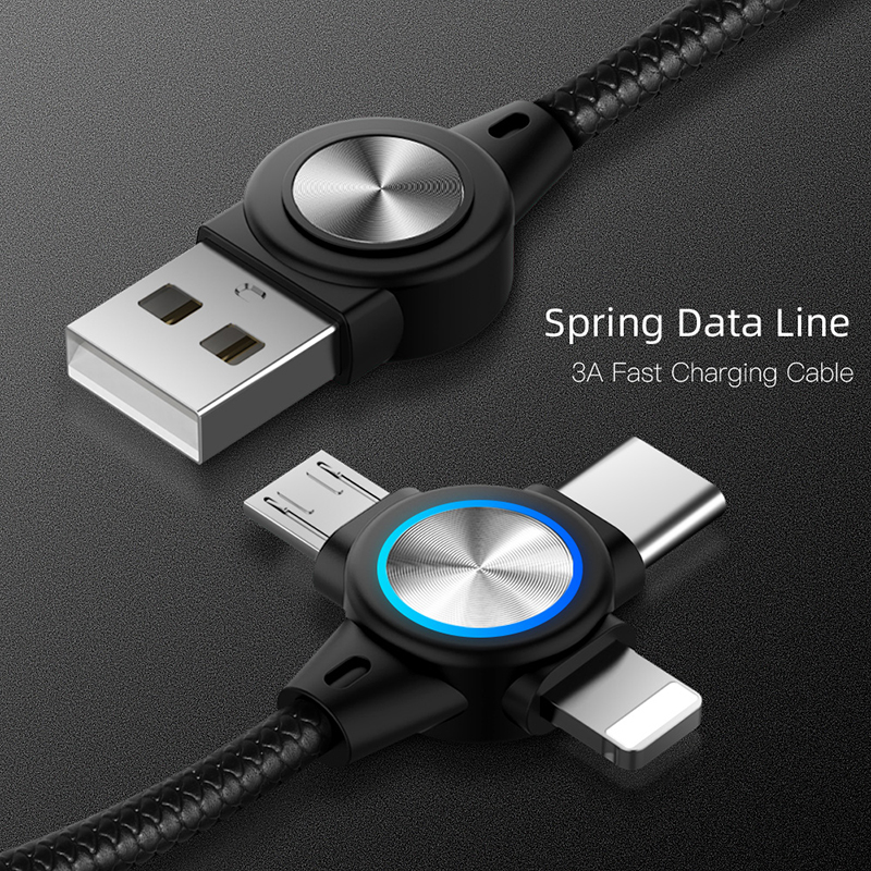 3 In 1 USB C Micro USB 8 Pin Cable 3A Fast Charging Retractable Spring Charging Cable Data Cord For Huawei P20 Xiaomi Samsung