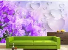 3D Wallpaper Mural Decor Photo Backdrop 3D purple dream lilac flower TV background wall decoration painting(China)