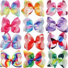 12 Pcs Regenbogen Haar Bögen Für Mädchen 6