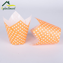 New Arrival 50Pcs/Lot Orange dotted tulip Paper Baking Cups Liner Muffin Cupcake Cake Case Mini
