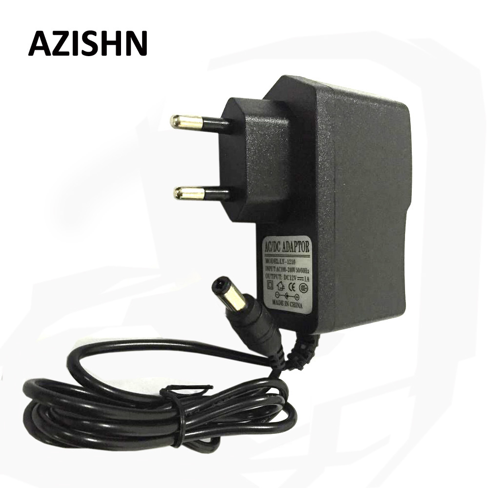 AZISHN AC 100-240 V DC 12 V 1A UNI EROPA Plug AC / DC Power adapter charger Power Adapter untuk keamanan CCTV Kamera (2.1mm * 5.5mm)