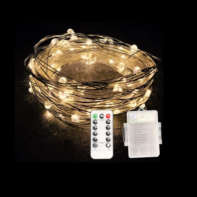 5/10M Waterproof Remote Control Fairy Lights Battery Operated LED Lights Decoration 8 Mode Copper Wire Christmas String Lights