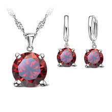 JEXXI Brand 925 Sterling Silver Austrian Crystal Jewelry Sets For Women Statement Necklace Earrings Set Bridal Wedding Gift